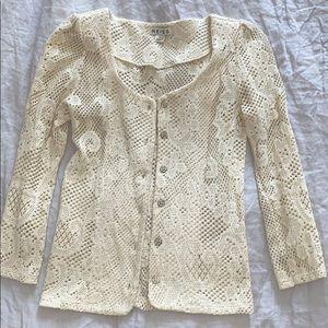 Reiss Women's Knit Lace Cardigan